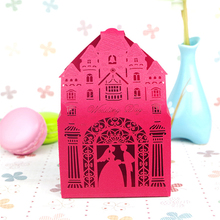100pcs/lot Foldable Red Castle Couple Hollow Paper Guest Gift Packaging Bag European Candy Box Chocolate Holder Wedding Supplies