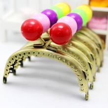 8.5CM Candy Bead Head Bronze Smooth Handle Arc Metal Purse Frame For Kiss Clasp Cluth DIY Handmade Sewing Coin Bag Accessories(China)