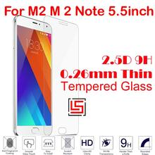 Cheap 0.26mm 2.5D 9H Tempered Glass Cristal Phone Cell Mobile Front Film Screen Protector For Meizu Mezu M2 M 2 Note 5.5inch