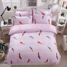 Colorful pink feather pattern 3 /4pcs Bedding Set Duvet Cover Pillowcases Bed Sheet Sets Bedspread super king size Home Textiles(China)