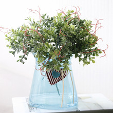 1Bunch/5PCs Fresh Green Plastic Artificial Plant Flower Arrangement Accessories Flower for Party Home Wedding Decoration