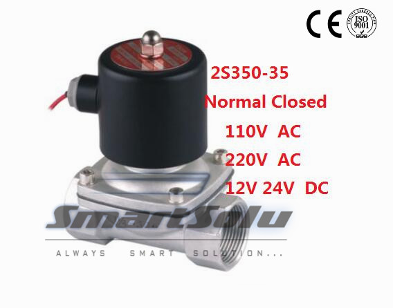 Free Shipping 2PCS/LOT 1.25 Stainless Steel Normally Closed Solenoid Valve DC12V 2 Way VITON Oil Acid<br><br>Aliexpress