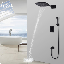 Buy hm Black Shower Thermostatic Waterfall Rain Shower Head & Hand Shower Set Solid Brass Bathroom Faucet Wall Mounted System for $372.32 in AliExpress store