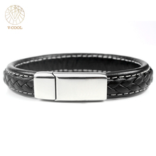 Fashion Bracelets Men Female Custom Made Titanium Jewelry Braided Magnetic Clasp Handmade Genuine Leather Bracelets 038(China)