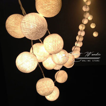 20 Leds Cotton Ball String Lights Fairy Christmas Lamp Home Wedding Party Decoration Patio Light AC 220v/110v