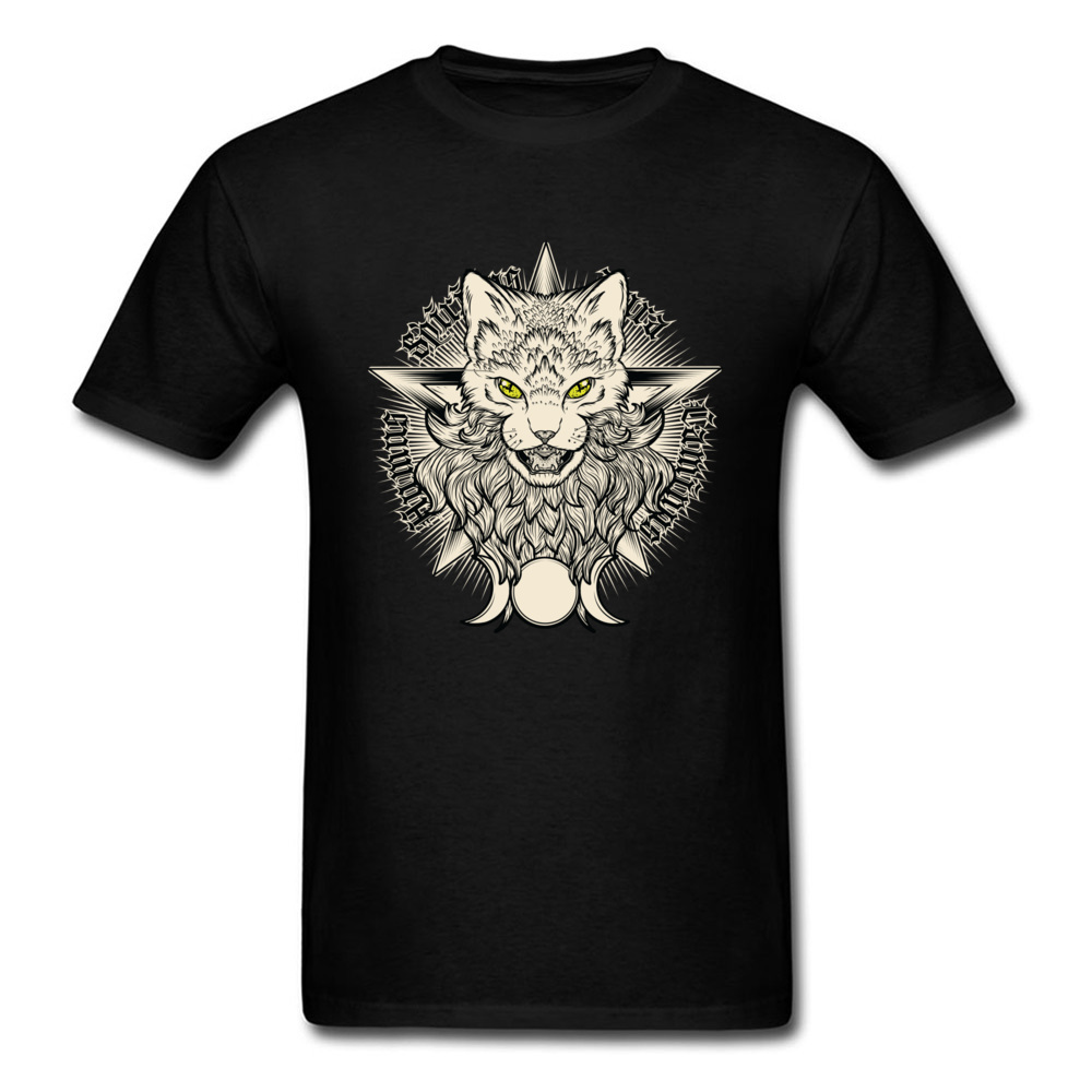 Wiccat O-Neck Top T-shirts Fall Tops Shirt Short Sleeve Company 100% Cotton Design Top T-shirts Leisure Men Wholesale Wiccat black