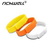 Richwell 100% real capacity Silicone Bracelet Wrist Band 64GB 32GB 16GB 8GB 4GB USB Flash Drive Pen Drive Stick U Disk Pendrives(China)