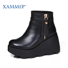 Xammep Women Winter Shoes Boots Brand Women Shoes Genuine Leather Natural Wool High Quality Ankle Boots With Platform High Heel(China)