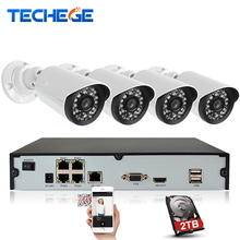 Techege 4CH POE 48V 1080P NVR 1.3MP IP Camera Metal Waterproof ip66 1280*960P Home Security Camera System Email Alert Xmeye APP