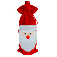 New Sale Red Wine Bottle Cover Bags Home Decoration Party Santa Claus Christmas Decor