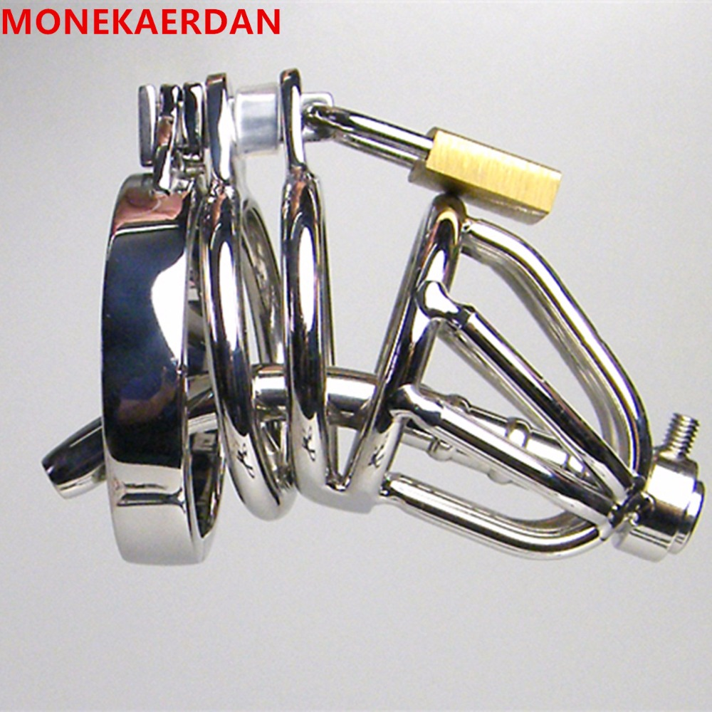 Cock Cage Penis Rings With Metal Catheter , Stainless Steel Chastity Device , Fetish Adult Products Sex Toys For Men - AJ31<br>