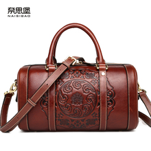 High quality Chinese style Genuine Leather Vintage female handbag name brand fashion flower pattern Boston bag women