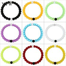 YYW Beaded Strand Circle Round 8mm Silicone Rubber Bangles Male Women Unisex Bracelet Punk Rock Multicolor Silicone Bracelets(China)