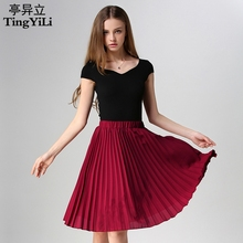 TingYiLi Pink Yellow Blue Red Beige Black Grey Pleated Skirt Women Midi Skirt Summer Fashion Skirts For Elegant Ladies Girls