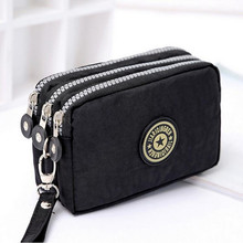 New Fashion Portable Washed Denim Make-up Bag Coin Purse Mini Bag with Three Zipped Women Wallets Phone