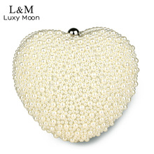 Luxy moon Pearl Evening Bag Women White Heart Hand Bag Bridal Wedding Dinner Party Purse Ladies Fashion Beading Day Clutch XA53H
