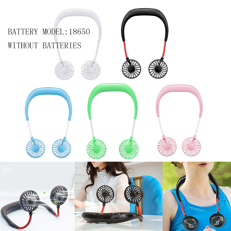 Portable Fans Wearable Neckband Fans With Usb Rechargeable Battery Operated Dual Wind Head 3 Speed Hands-free Fans Silicone(China)