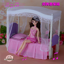 New Doll accessories Princess bed with lights music for barbie doll baby furniture suite children toys gifts