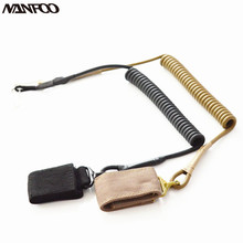 Outdoor Airsoft Hunting Army SlingStrap 54cm Tactical Pistol Lanyard Sling HandGun Elastic Secure Spring Belt Velcro Black Khaki(China)