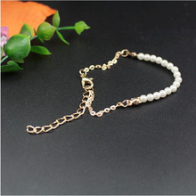 2017 Charm Bracelets & Bangles Gold Color Chain Fashion Simulated Pearl Beads Wedding Jewelry For Women Bijouterie Accessories