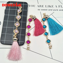 Dower Me Brand DIY Phone Hanging Ornaments Alloy Tassel Rhinestone Chain Mobile Phone lanyard Decoration