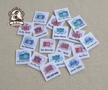 96 Custom logo labels,children's clothing tags, Name   Tags, white organic cotton labels, Decorate the camera, iron on