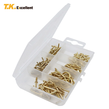 T.K.excellent 85 Pieces Brass Blated Cup Hooks and Square Hooks Kit Solid Brass Rust Resistant High Corrosion Resistance(China)