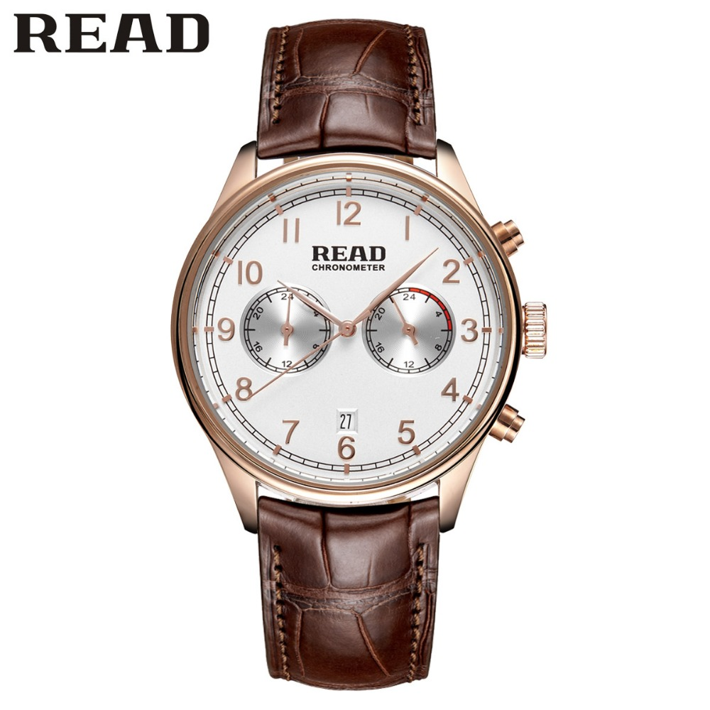 READ Men leather watch fashion business sports multi-function waterproof belt quartz watch 2070<br>