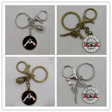 2019Trendy Guns n Roses Keychains Art Picture Glass Dome BPGNR Logo Keyring Steampunk Music Band Pendant Key Chain(China)