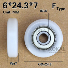 [F0624-7]Free shipping 10PCS 626zz outer diameter 24mm Flat type roller for drawer cabinet window wheel plastic bearing