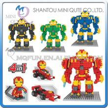 Mini Qute WTOYW DR.STAR Marvel 4 in 1 Avenger Super Hero chariot diamond plastic building block model kid educational toy(China)