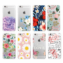 2016 Floral Flowers Rose Daisy Cherry Blossom Fashion Soft TPU Phone Case Cover For iPhone 6 6plus 7 7Plus 8 8plus X(China)