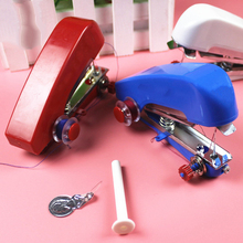 2017 White Blue Red Mini Sewing Machines Manual Hand Held Clothing Fabrics Essential DIY Portable Household Needlework Cordless(China)