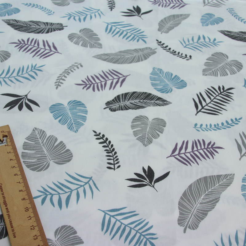 black purple turquoise feathers leaves 100/% cotton fabric width 160cm