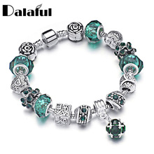 DIY Glass Crystal Beads Bracelet Heart Carved Flower Owl Charm Bracelets & Bangles For Women Jewellery Pulsera S349(China)