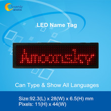 red led name tag red led name badge 11*44 dots scrolling screen business card tag display advertising rechargeable programmed