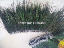 free delivery! More than one meter long high-quality natural peacock feathers, ribbons, feathers ribbons 15-20 cm long, thick(China)