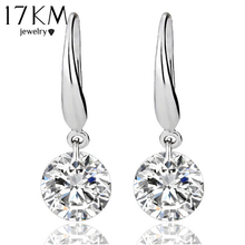 17KM Top Quality 0.8mm Classic Silver Color Earrings Princess Consort Wedding Crystal Earring Shining Zircon Earrings For Women
