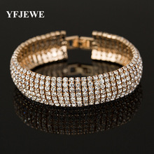 YFJEWE Factory price Gold and Silver Color Classic Crystal Pave Link Bracelet Bangle Fashion Full Rhinestone Jewelry Women B011