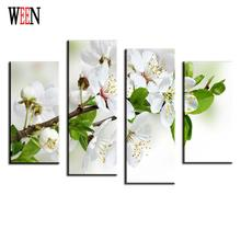Plum Blossom Canvas Arts For Living Room Modern Green leaves Wall Pictures poster and printed ArtWorks Cheap Home Decor Gift