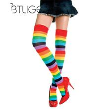 BTLIGE Women Stockings Cute Cotton Thigh High Mixed Colored Rainbow Striped Long Stockings Knitted Ladies Over The Knee Socks(China)