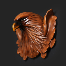 Large Size Creative Wall Decor Eagle Head Eagle Figurine Decorative Hanging Resin Hawk Statue TV Background Christmas Gift