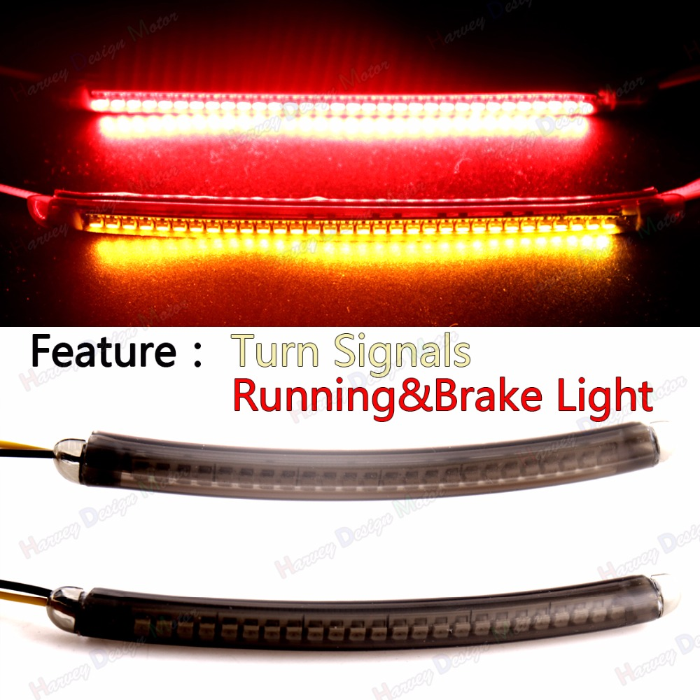 Rear L&amp;R LED Turn Signal Running Brake Light Kits&amp;Smoked Lens For Harley Victory&amp;All Universal Motorcycle<br>
