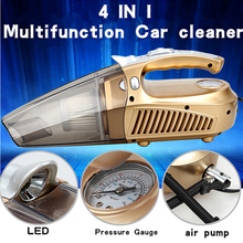 12V 120W Multi-function Car Vacuum Cleaner High-Power Dry and Wet Dual use LED Lamp+Measuring tire pressure+Tire pump CV005