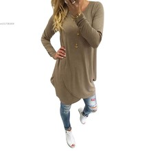 Fanala Fashion T Shirt Women 2016 Casual Cross Wrap Tops Long Sleeve  T Shirt Loose Solid Casual Poleras De Mujer 58
