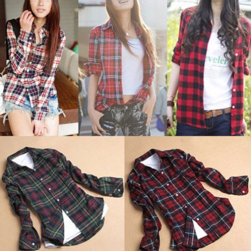 Winter Spring Ladies Female Casual Cotton Lapel Long-Sleeve Plaid Shirt Women Slim Outerwear Blouse Tops Clothing