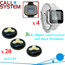 Four waiter watch with 20 Table Bells Call Button System Waiter Call System for Table(China)