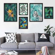 Nordic Art Animals zebra Deer Plant  Tropical Leaf Painting Canvas Poster  A4 Wall Picture  Modern Home Living Room  Decoration