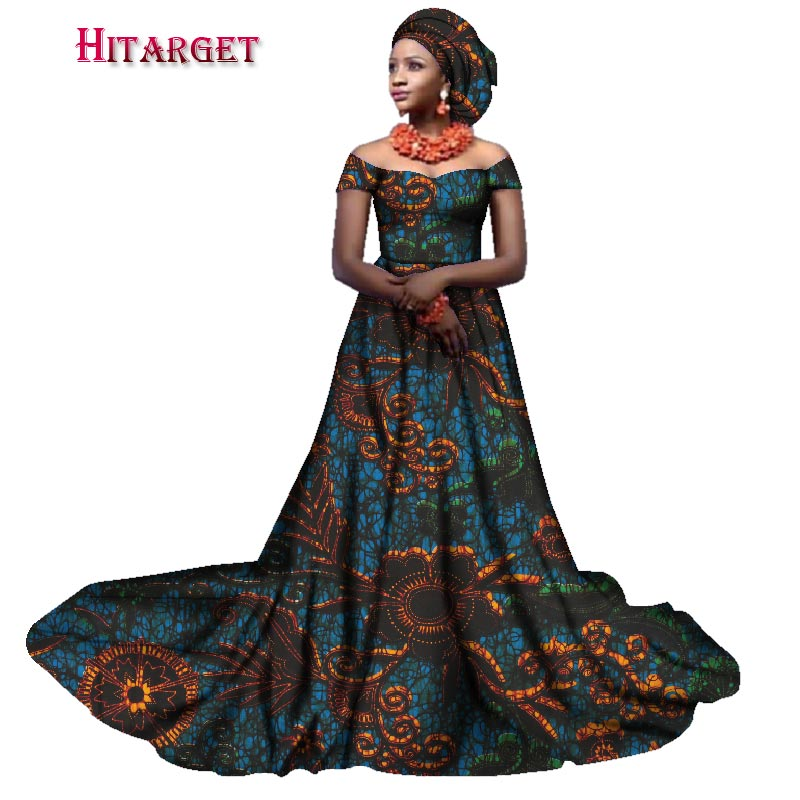 Hitarget 2019 new african bazin riche wedding dresses for women slash neck ladies african dashiki long dresses clothing WY2380