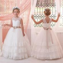New Pearled Jewel Neck Layers Lace Flower Girl Dresses For Weddings 2017 First Communion Dresses With Ribbons Girls Pageant Gown